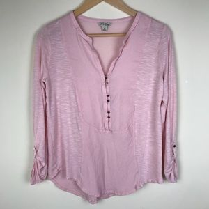 Lucky Brand Blush Pink Button Long Sleeve Blouse